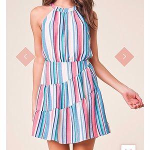 Striped cross back halter dress